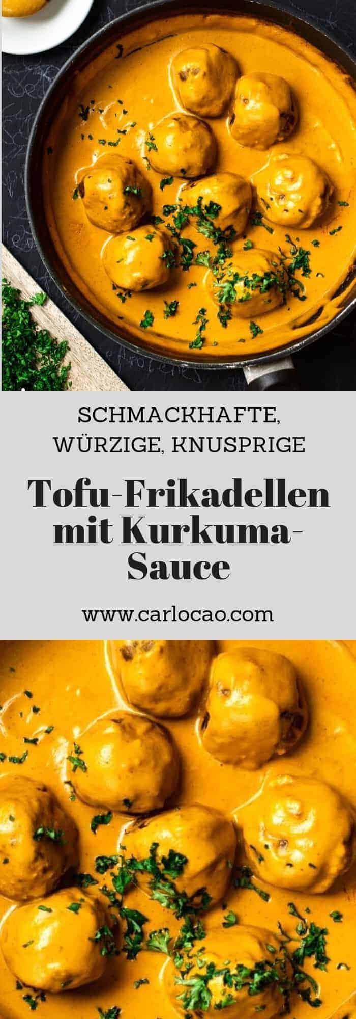 tofu frikadellen mit kurkuma sauce