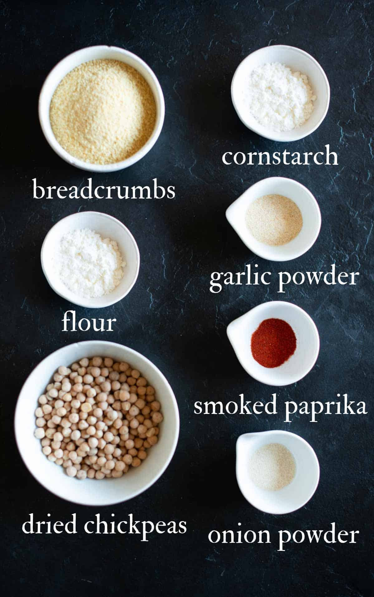 Image of the chickpea cutlets ingredients