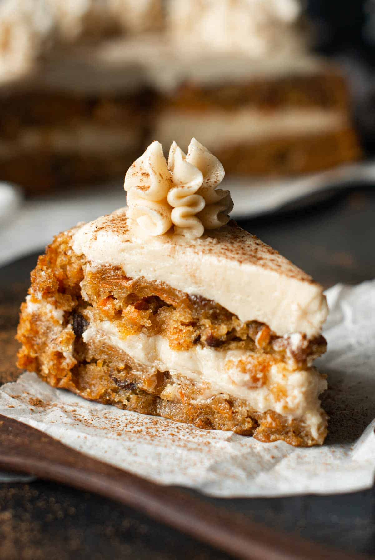 Image of the a piece of carrot cake