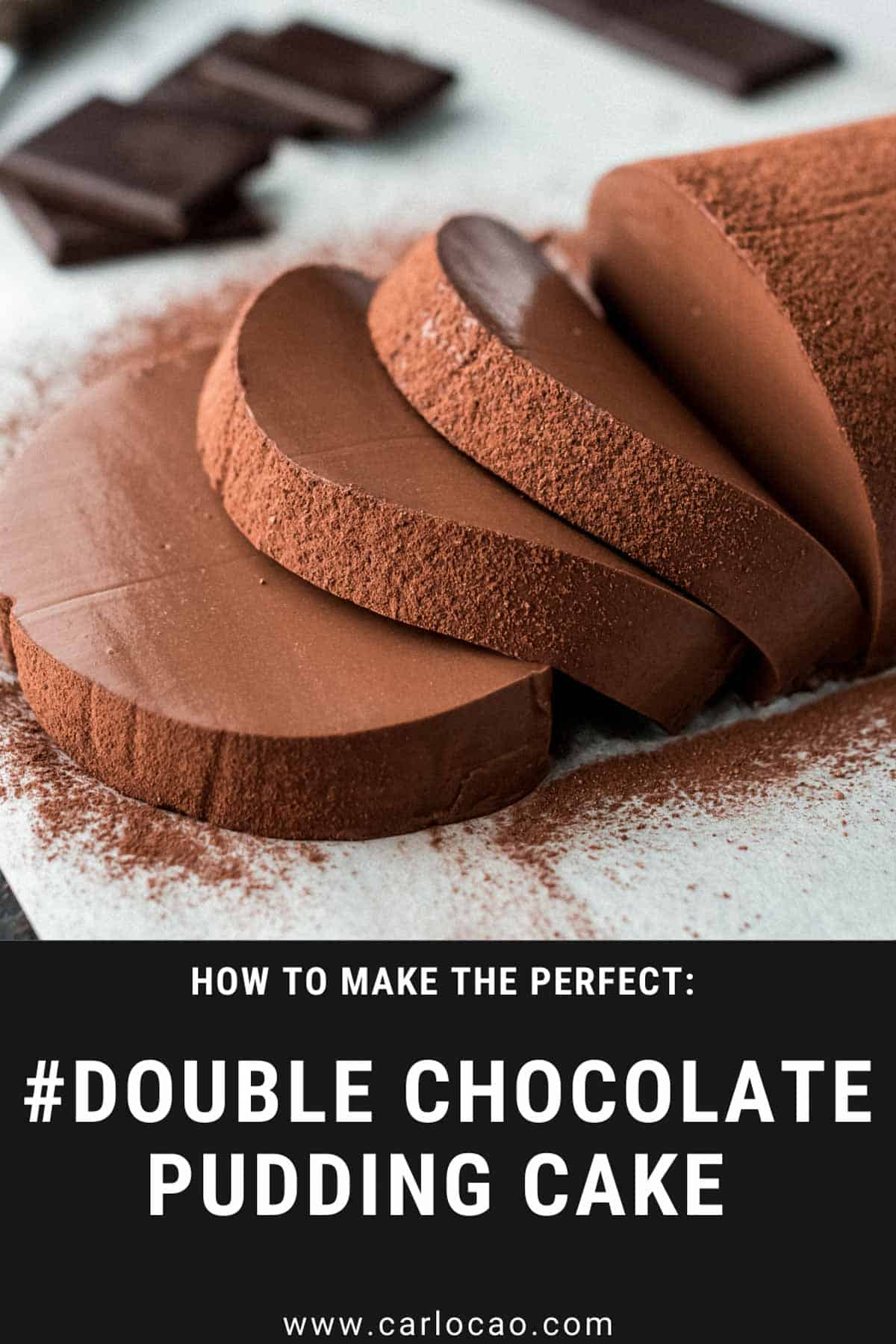 double chocolate pudding cake recipe pin for pinterest