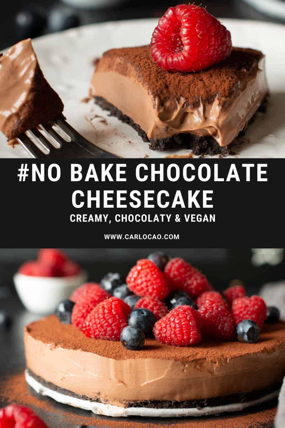 Image of no bake chocolate cheesecake