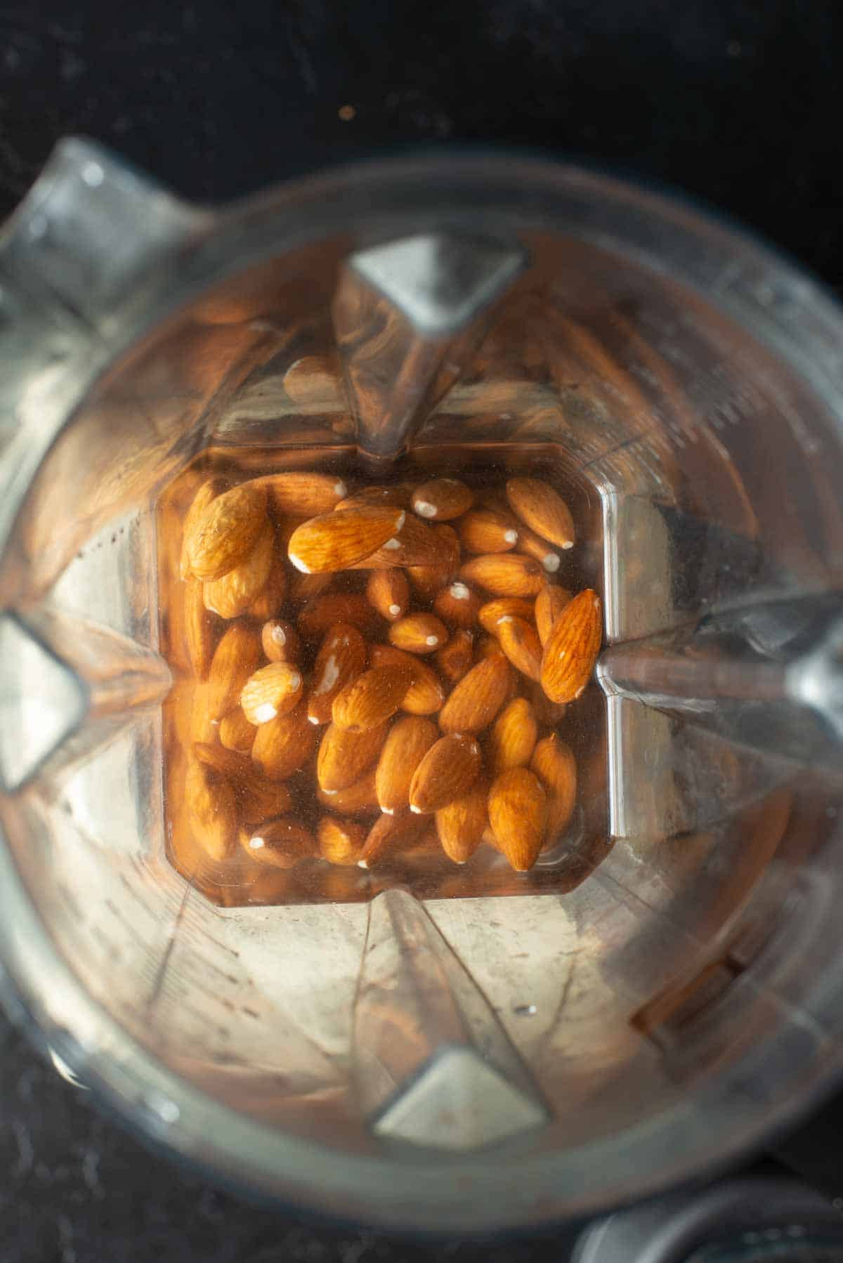 Image of the almonds soaked in water