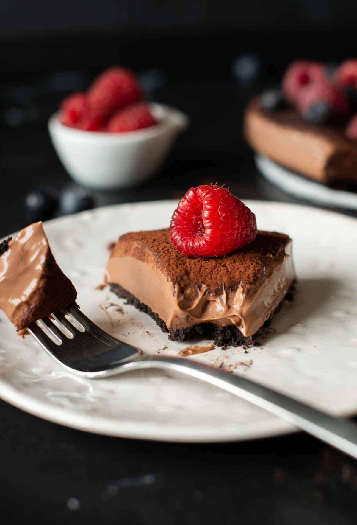 Imagine of a piece of no bake chocolate cheesecake