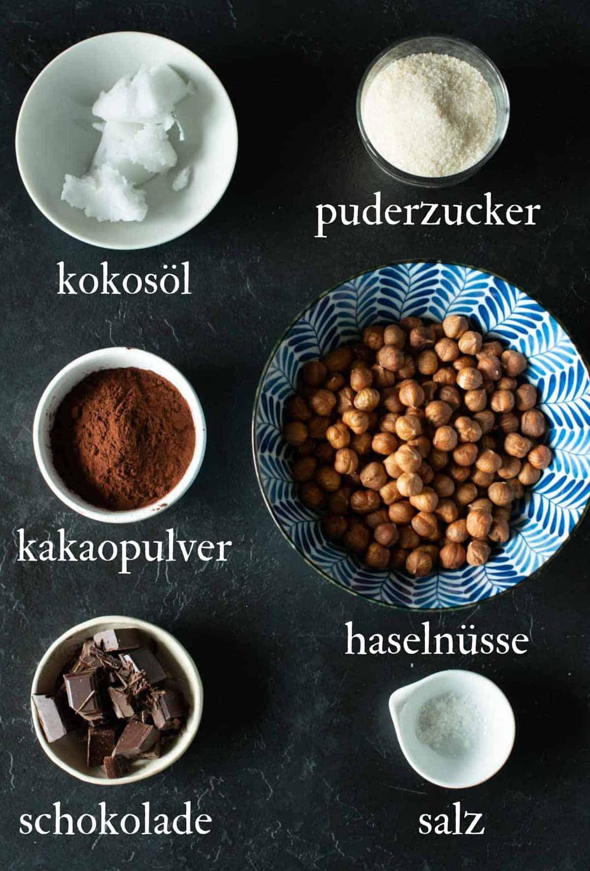 Bild von der Zutaten zum Nutella selber machen