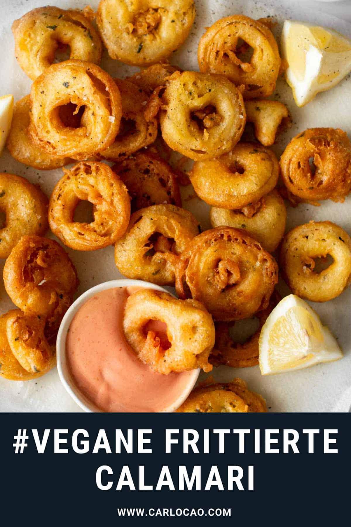 Bild: vegane frittierte Calamari Pin für Pinterest