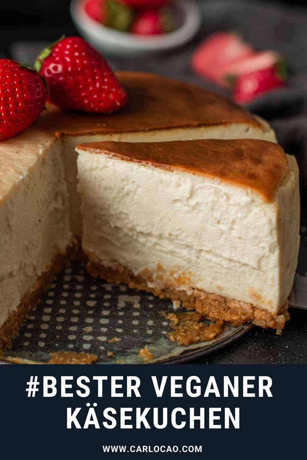 Bild: veganer Käsekuchen Bild für Pinterest