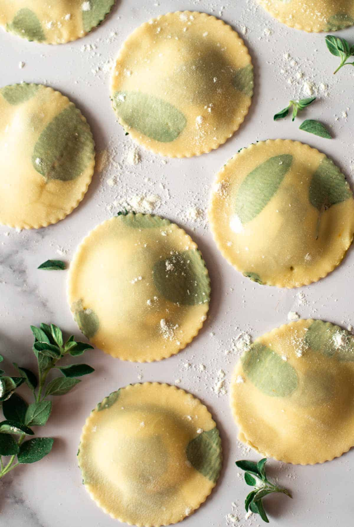 Image: pesto-cheese ravioli