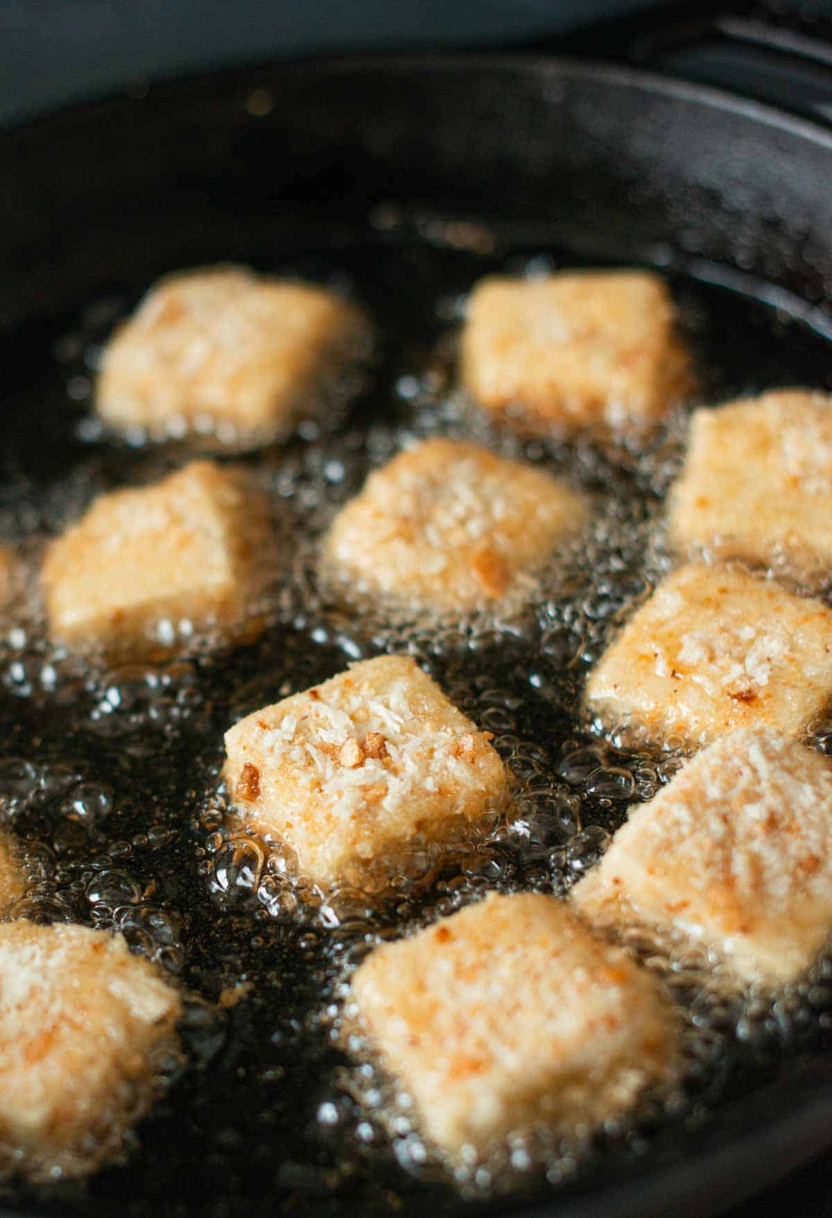 tofu nuggets while frying