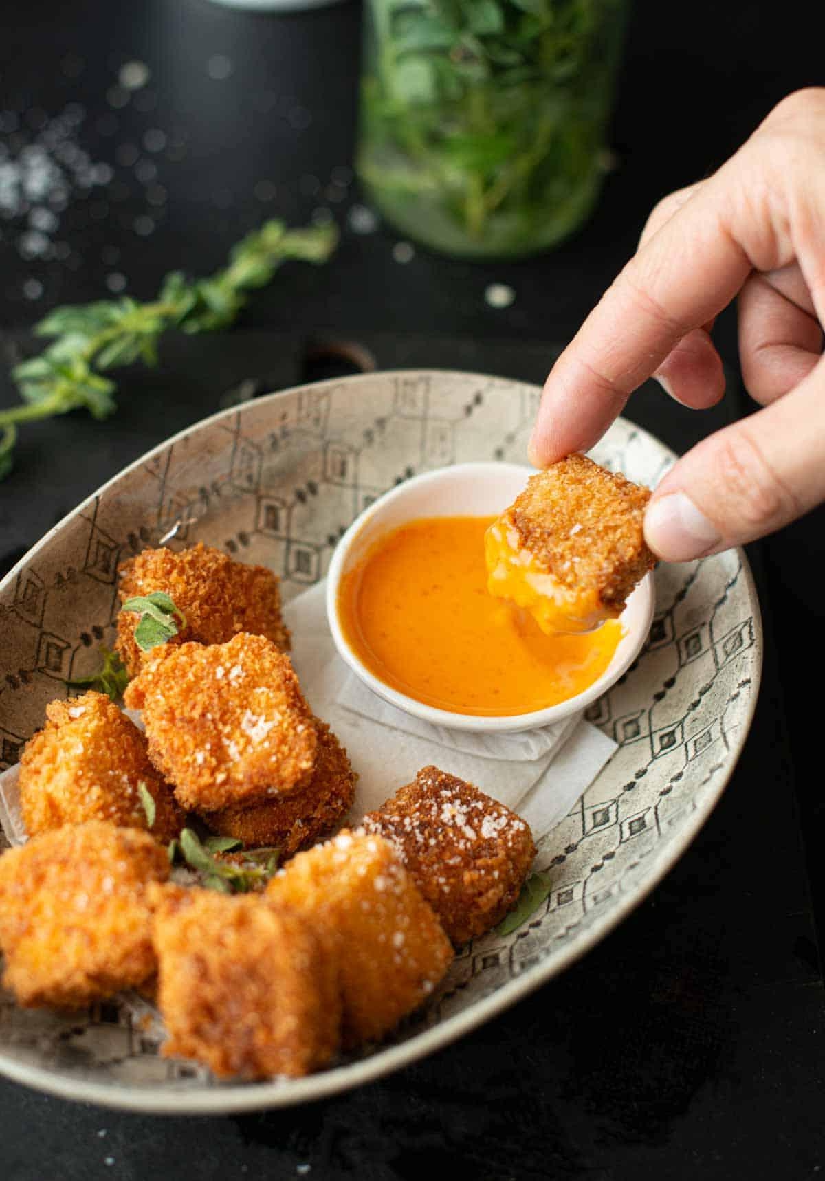 Best Ever Tofu Nuggets with Sriracha Mayo